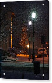 Snow In Downtown Grants Pass - 5th Street Acrylic Print by Mick Anderson