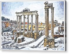 Snow In Rome Acrylic Print by Stefano Senise