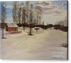 Snow In Solbrinken Acrylic Print by Martin Howard