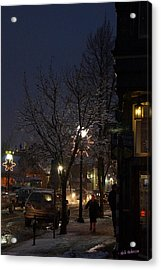 Snow On G Street 4 - Old Town Grants Pass Acrylic Print by Mick Anderson