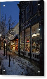 Snow On G Street - Old Town Grants Pass Acrylic Print by Mick Anderson