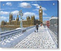 Snow On Westminster Bridge Acrylic Print by Richard Harpum