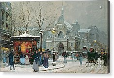 Snow Scene In Paris Acrylic Print by Eugene Galien-Laloue