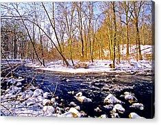 Acrylic Print featuring the photograph Snow Scene Pennsylvania Woodland Stream by A Gurmankin