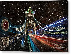 Snow Storm Tower Bridge Acrylic Print by Donald Davis