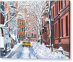 Snow West Village New York City Acrylic Print by Anthony Butera