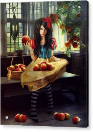 Snow White Acrylic Print by Cindy Grundsten