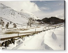 Snowdrifts Below Helvellyn Acrylic Print by Ashley Cooper