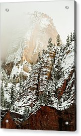 Snowfall Zion National Park Utah Acrylic Print by Robert Ford