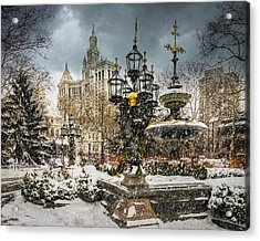 Snowstorm At City Hall Acrylic Print by Chris Lord