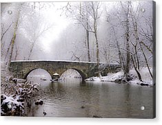 Snowy Bells Mill Road Bridge Acrylic Print by Bill Cannon