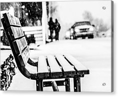 Snowy Bench Acrylic Print by Shelby  Young