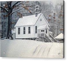 Snowy Gates Chapel  -little White Church - Ellijay Acrylic Print by Jan Dappen