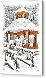 Snowy Gazebo - Greensboro North Carolina II Acrylic Print by Dan Carmichael
