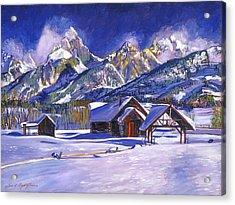 Snowy Log Cabin Acrylic Print by David Lloyd Glover