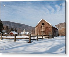 Snowy New England Barns Acrylic Print by Bill Wakeley