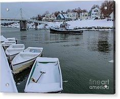 Snowy Perkins Cove Acrylic Print by Joe Faragalli