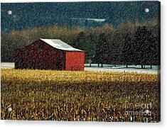 Snowy Red Barn In Winter Acrylic Print by Lois Bryan