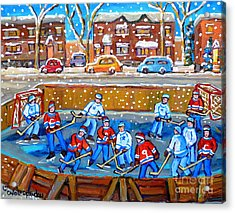 Snowy Rink Hockey Game Montreal Memories Winter Street Scene Painting Carole Spandau Acrylic Print by Carole Spandau