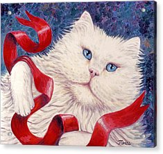 Snowy The Cat Acrylic Print by Linda Mears