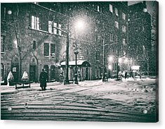 Snowy Winter Night - Sutton Place - New York City Acrylic Print by Vivienne Gucwa