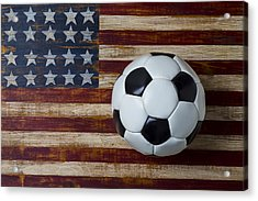 Soccer Ball And Stars And Stripes Acrylic Print by Garry Gay