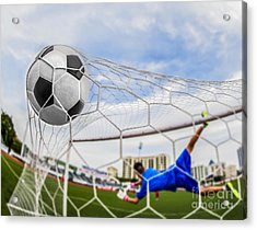 Soccer Ball In Goal  Acrylic Print by Anek Suwannaphoom
