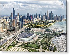 Soldier Field And Chicago Skyline Acrylic Print by Adam Romanowicz
