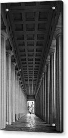 Soldier Field Colonnade Chicago B W B W Acrylic Print by Steve Gadomski