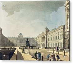 Somerset House, Strand, From Ackermanns Acrylic Print by T. & Pugin, A.C. Rowlandson