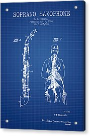 Soprano Saxophone Patent From 1926 - Blueprint Acrylic Print by Aged Pixel