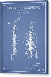 Soprano Saxophone Patent From 1926 - Light Blue Acrylic Print by Aged Pixel