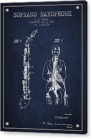 Soprano Saxophone Patent From 1926 - Navy Blue Acrylic Print by Aged Pixel