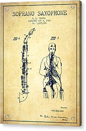 Soprano Saxophone Patent From 1926 - Vintage Acrylic Print by Aged Pixel