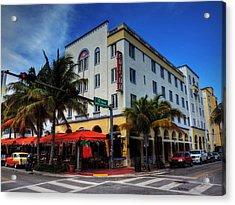 South Beach - Edison Hotel 001 Acrylic Print by Lance Vaughn
