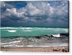 South Beach Storm Clouds Acrylic Print by John Rizzuto