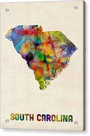 South Carolina Watercolor Map Acrylic Print by Michael Tompsett