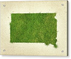 South Dakota Grass Map Acrylic Print by Aged Pixel