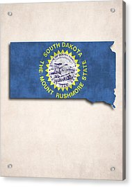 South Dakota Map Art With Flag Design Acrylic Print by World Art Prints And Designs