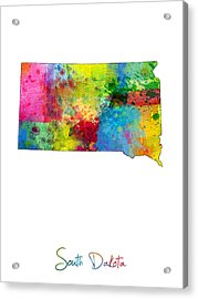 South Dakota Map Acrylic Print by Michael Tompsett