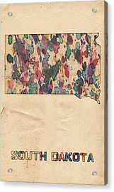 South Dakota Map Vintage Watercolor Acrylic Print by Florian Rodarte