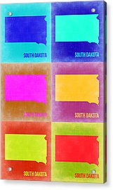 South Dakota Pop Art Map 2 Acrylic Print by Naxart Studio