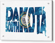 South Dakota Typographic Map Flag Acrylic Print by Ayse Deniz