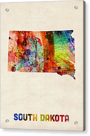 South Dakota Watercolor Map Acrylic Print by Michael Tompsett