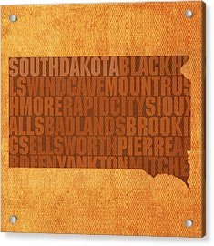 South Dakota Word Art State Map On Canvas Acrylic Print by Design Turnpike