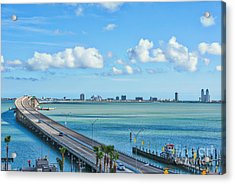 South Padre Island Bridge Acrylic Print by Tod and Cynthia Grubbs