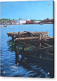 Southampton Northam River Itchen Old Jetty With Sea Birds Acrylic Print by Martin Davey
