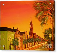 Van Dyke Brown Acrylic Print featuring the painting Southern Eve by Barbara Hayes