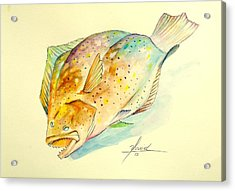 Southern Flounder  Acrylic Print by Yusniel Santos