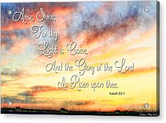Southern Sunset - Digital Paint IIi With Verse Acrylic Print by Debbie Portwood